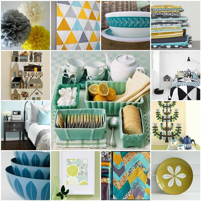 color inspiration -- Mustard, Green, Aqua,  Blue, Grey, & Black