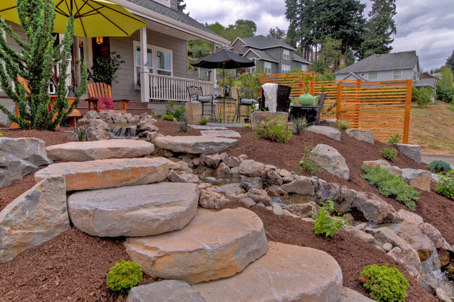 Gravel Courtyad - Water fall - Slab stone steps - privacy ...