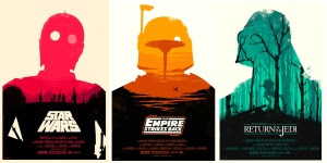 Redesigned movie posters for the original Star Wars series