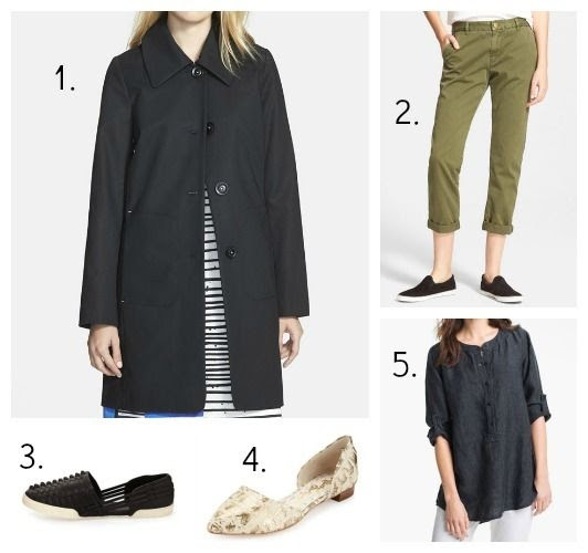 Trina Turk Coat - Current/Elliott Pants - Elliott Lucca Sandals - Alice + Olivia Flats - Eileen Fisher Tunic