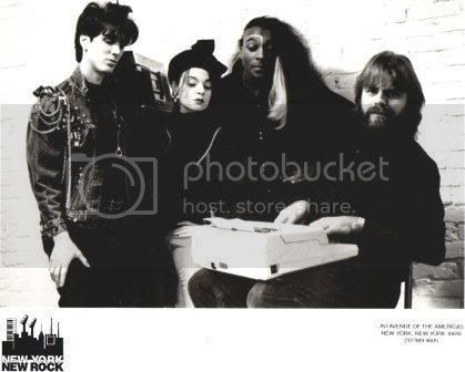 L-R:  Ralph and Barb Carboy, Vic Hennegan, and Wolfgang Busch in a photo related to Busch's TV program, 'New York New Rock.'