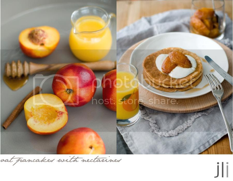 oat pancakes with oven baked nectarines