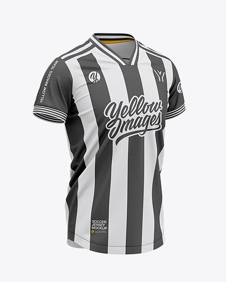 Download Free Men's Soccer V-Neck Jersey Mockup - Front Half-Side ...