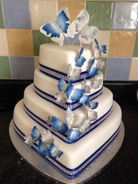 Royal blue and silver heart wedding cake.   Wedding Cake