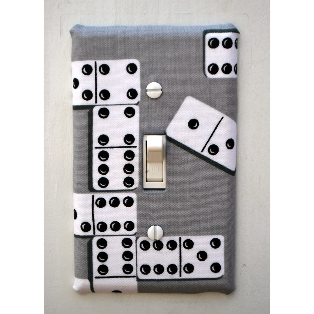 Light Switch Plate Cover - grey with dominos
