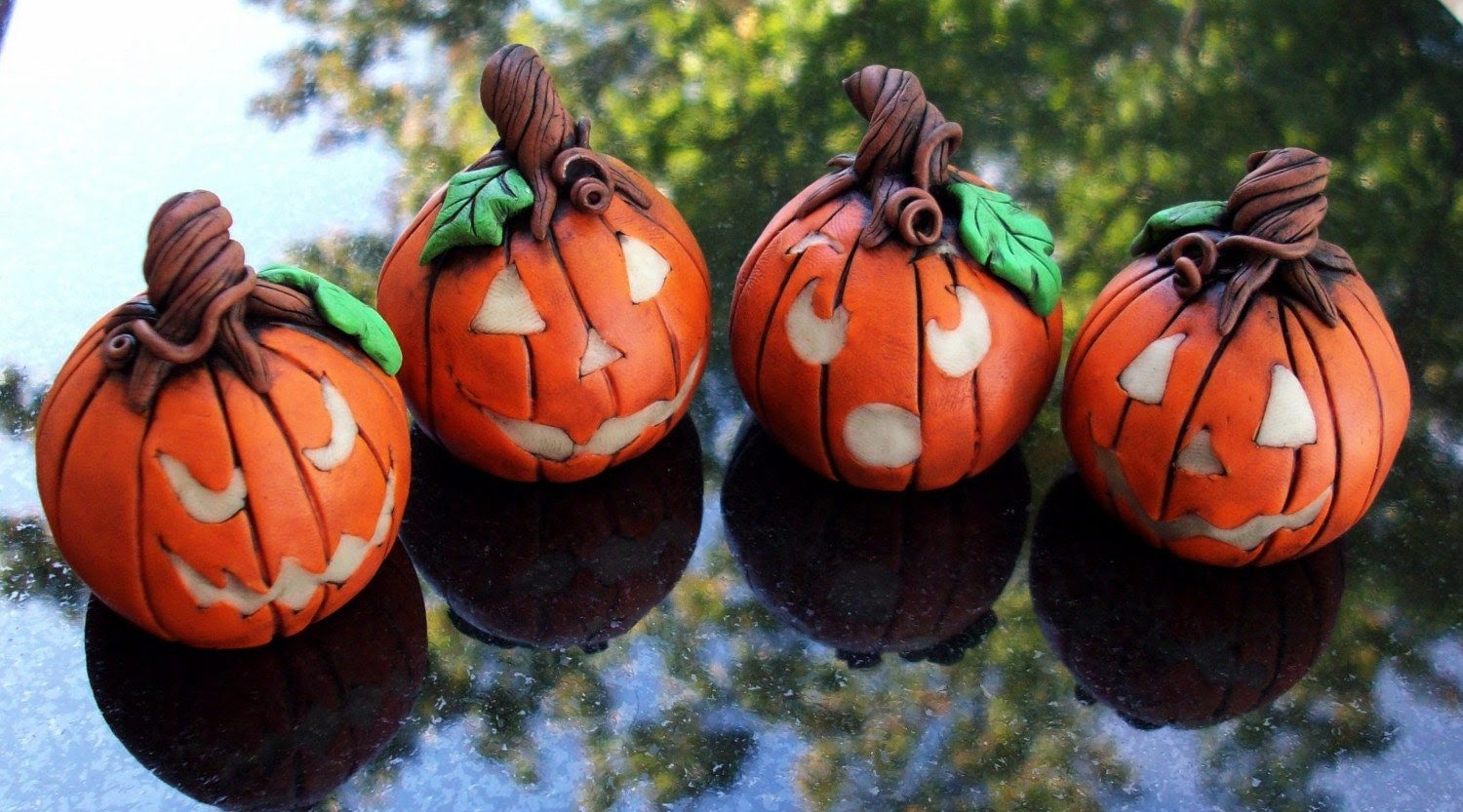 Halloween Jack o Lanterns Polymer Clay  Set of 4