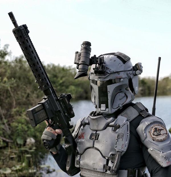 AR500-developed ballistic armor...inspired by the Mandalorian suit worn by Boba Fett in the STAR WARS saga.