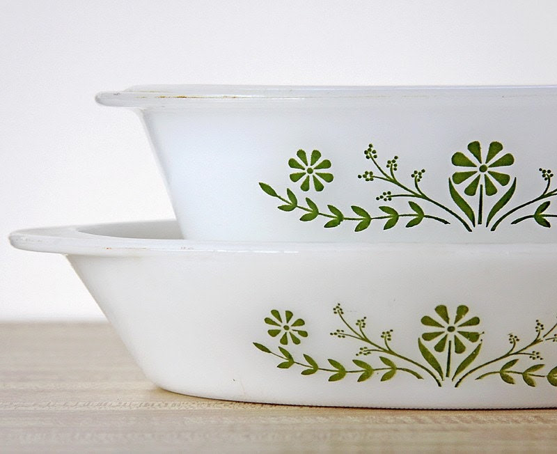 Glasbake Green Daisy Duo Oval Dishes