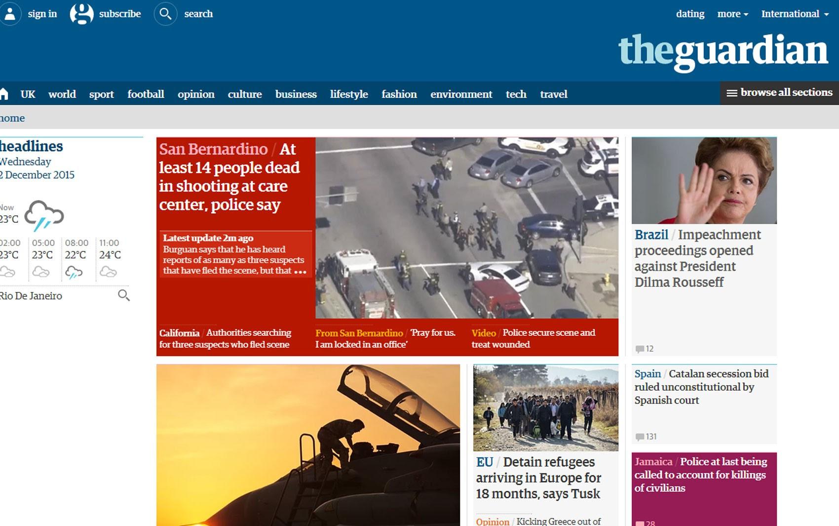 Abertura do processo de impeachment da presidente Dilma Rousseff foi noticiada no site do jornal britânico 'The Guardian' (Foto: Reprodução/The Guardian)