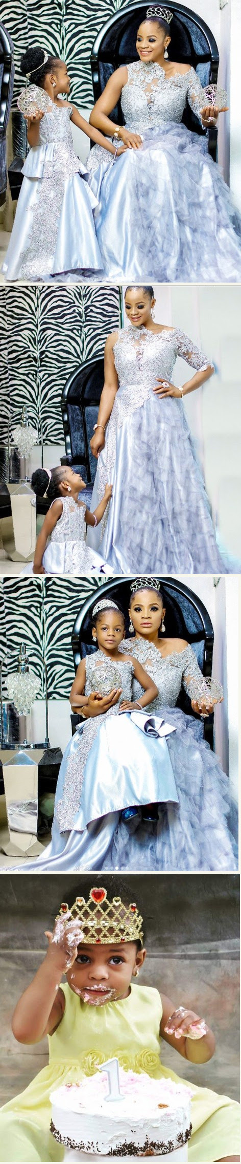 Lovely Photos Of Actress Uche Ogbodo And Daughter In Matching Outfits