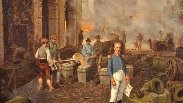 El coronel, en la fundición: el cuadro de Fortuny muestra al militar entre cañones y morteros de lo que fue la primera fábrica patria de armas para la guerra de la Independencia.