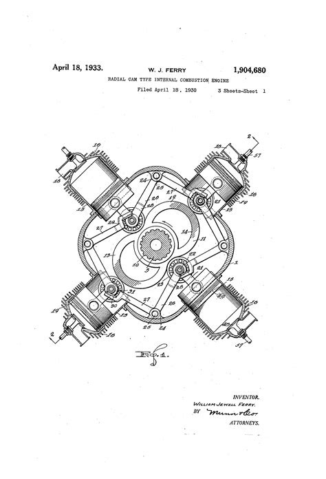 Patent US1904680 - Radial cam type internal combustion