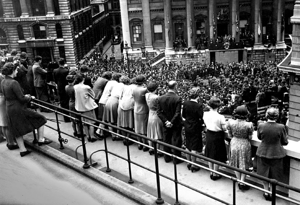 VE Day celebrations seen from the Bank of England, 1945