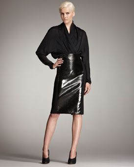 Stella McCartney Faux Patent Leather-Front Skirt
