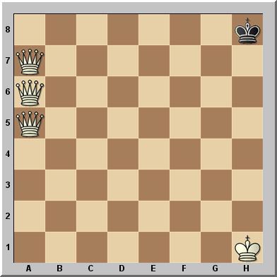 Las blancas dan mate en siete jugadas, usando sólo su trío de damas y desplazándolas sólo por la columna a