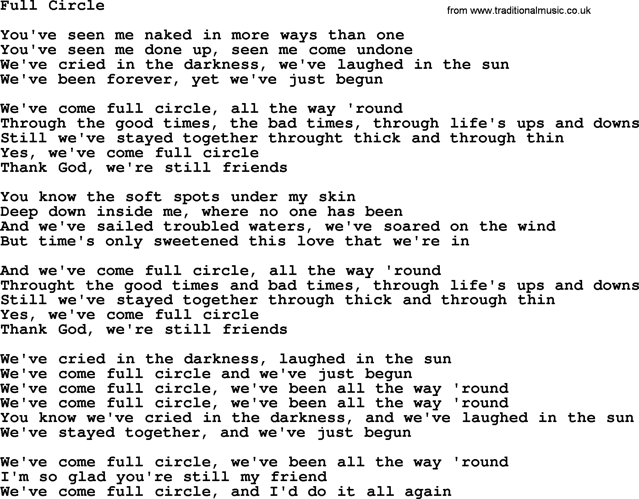 Dolly Parton Song Full Circle Lyrics