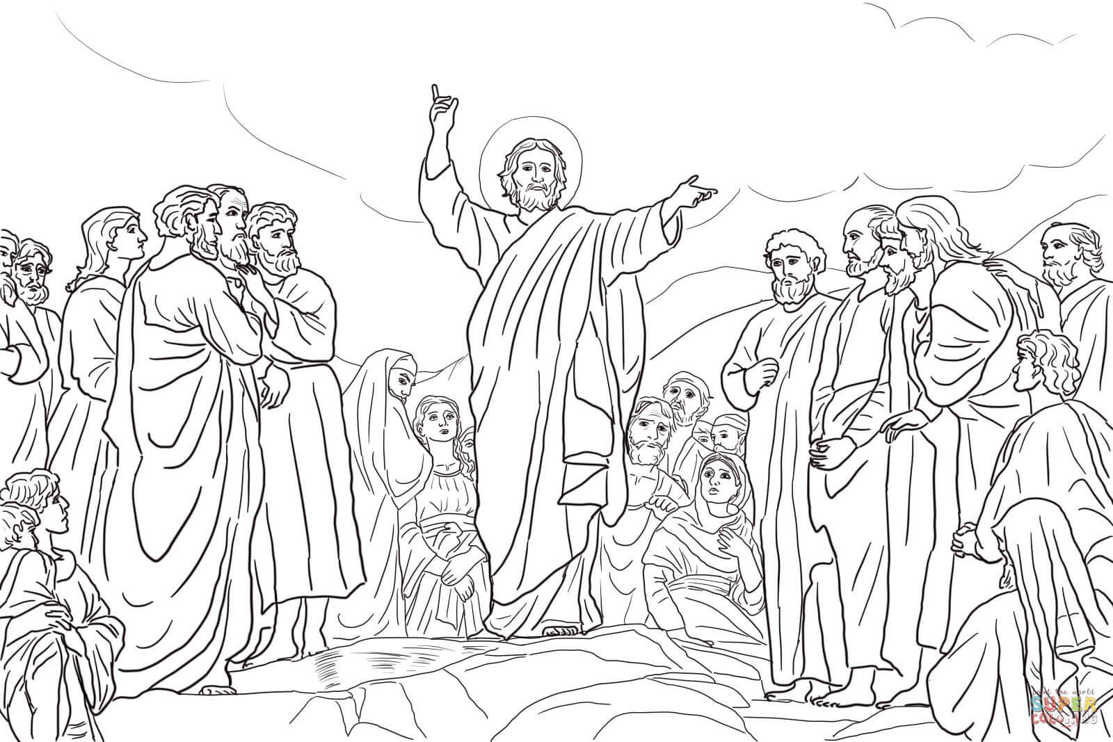 jesus teaches the beatitudes by henrik olrik coloring page