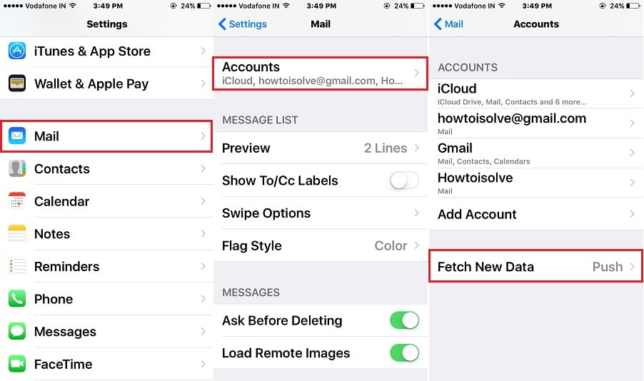 Change iPhone Mail App Fetch Time for New Mail Data ...
