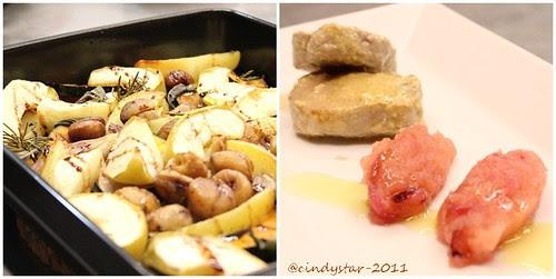 filetto maiale alla senape con puré mele-teglia zucca,mele,patate,scalogni,castagne