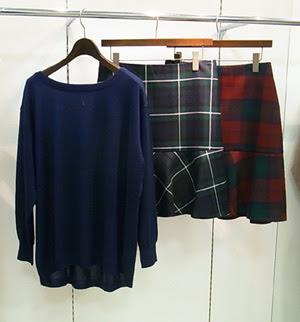 23区,2012秋ファッション,秋流行,23区ファッション,秋タータンチェック,秋ファッション フレアスカート,秋グリーンタータンチェック,