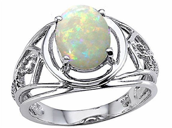 Tommaso Design Genuine Oval Opal Ring White Gold Size 4