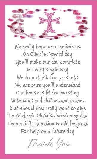 50 x Mini Polite Christening Money for gift poem card for