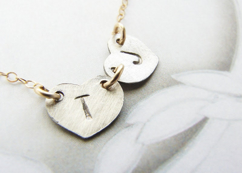 Double Initials necklace personalized initial oxidized silver heart, couple kids two initials necklace Valentine Heart Jewerlry