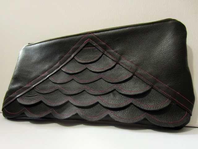 leather scalloped clutch full