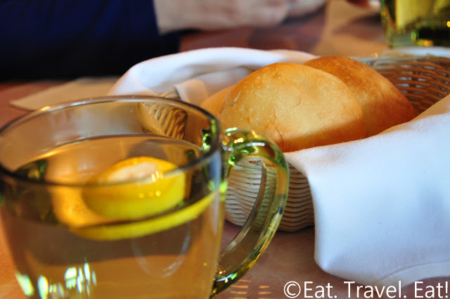 Sesame Grill: Hot Bread Rolls (w/ Hot Water in Lemon)