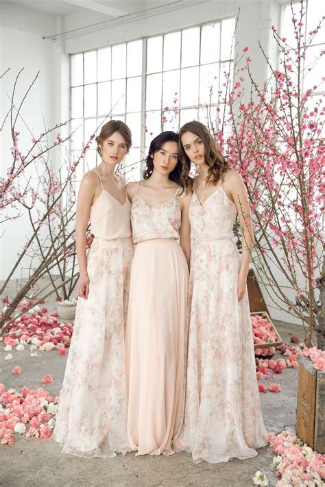 Mix   Match blush and floral bridesmaid dresses and