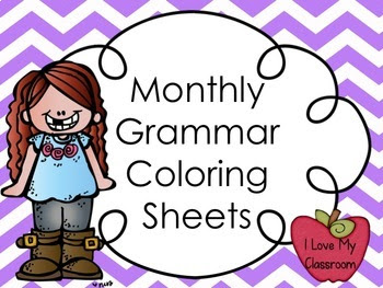 Monthly Grammar Coloring Sheets {Year Long Grammar Review}
