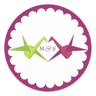 Origami Cranes Wedding Favor Sticker sticker