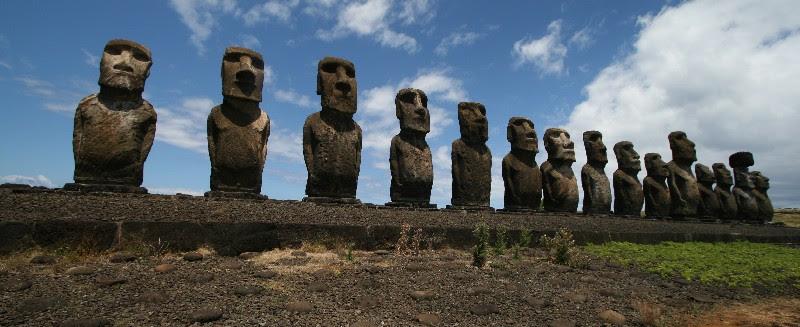 Moai on Easter Island.