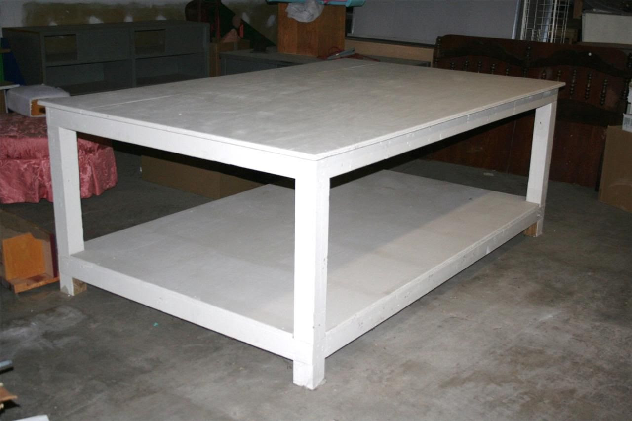 ~ Large Wood Work Table Fabric Upholstery Cabinetry 8 x 5 ...