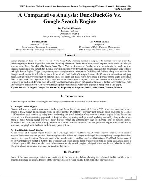 (PDF) A Comparative Analysis: DuckDuckGo Vs. Google Search