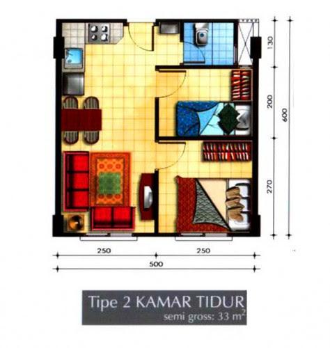 12 Denah Rumah Minimalis 2 Kamar Tidur