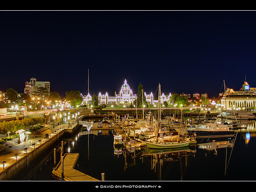 Victoria British Columbia Inner Harbour at Night - HDR by David Gn Photography