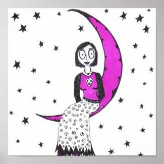 Creepy over the moon and stars print