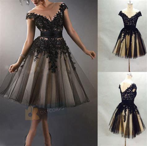 vintage tea length black formal evening dress party prom