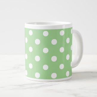 Chic Jumbo Coffee Mug: White Polkas on Green Jumbo Mugs