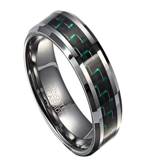 tungsten mens wedding band  green carbon fiber