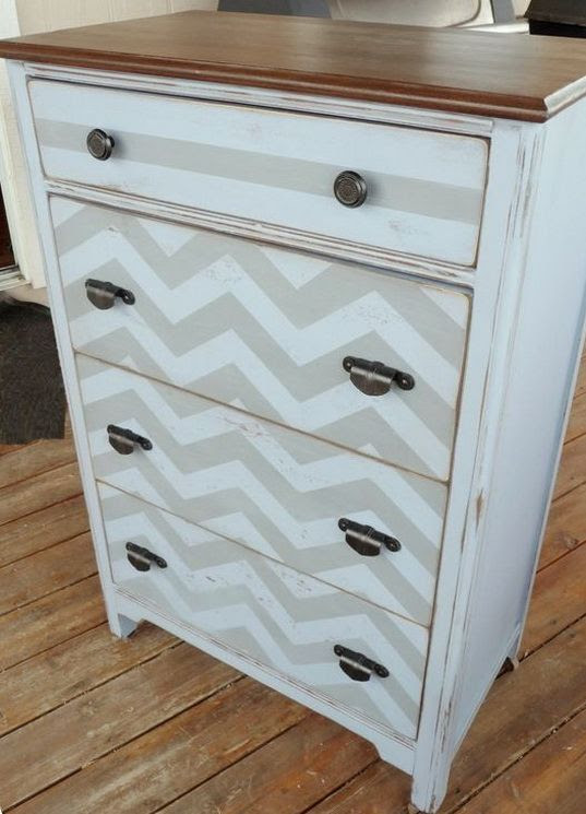 Amazing chevron design on restored furniture