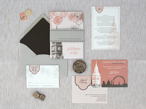 London Skyline Wedding Invite Suite via Oh So Beautiful Paper