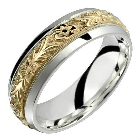 10k Gold with .925 Sterling Silver Ring 7mm Wide
