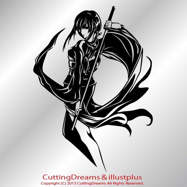 和風イラストカッティングステッカー Illustplus Cutting Dreams