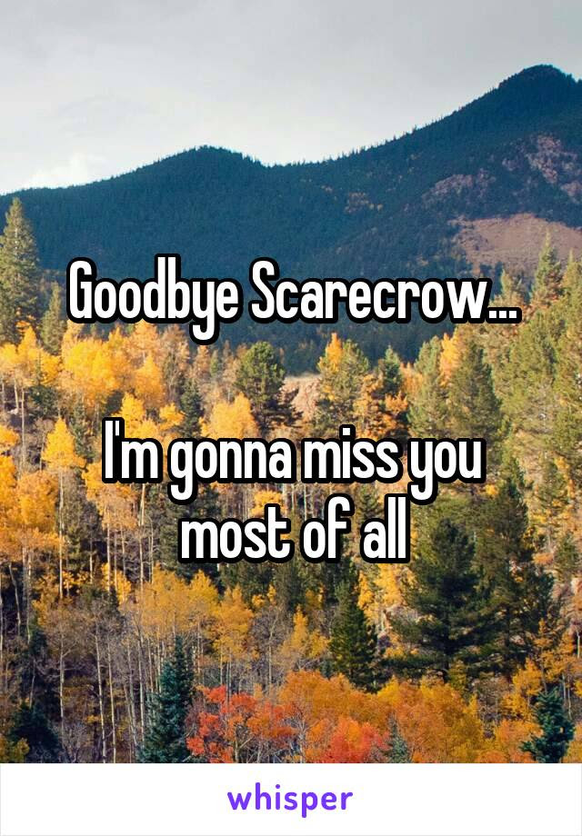 Goodbye Scarecrow Im Gonna Miss You Most Of All