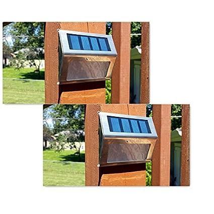 OxyLED® SL05 2pz Lampada LED ad Energia Solare Luce Bianco Automatico in Acciaio Inox Tensione Bassa per Scale Pareti DIY