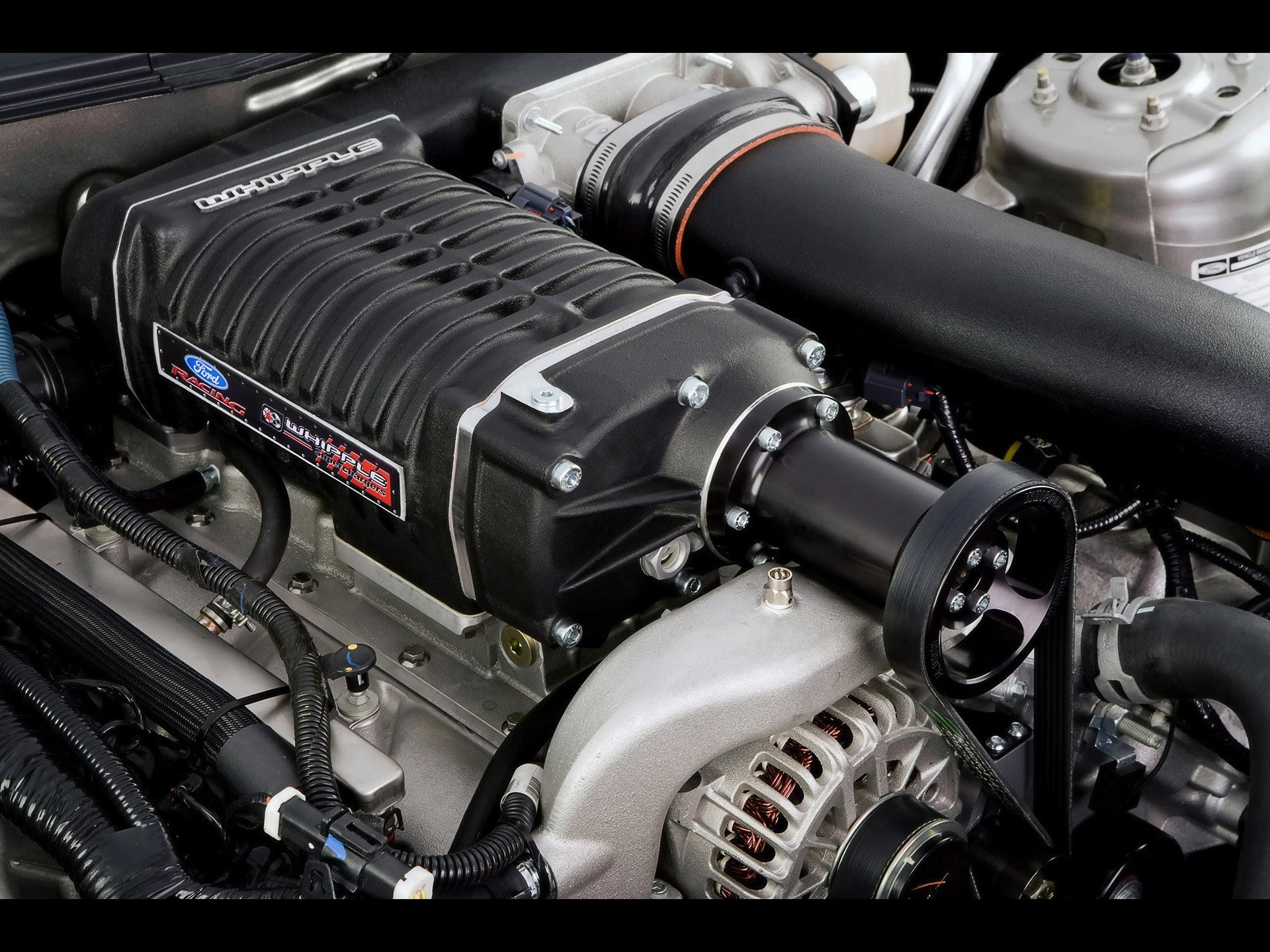 Engines muscle cars vehicles Ford Mustang supercharged V8 engine supercharger wallpaper ...