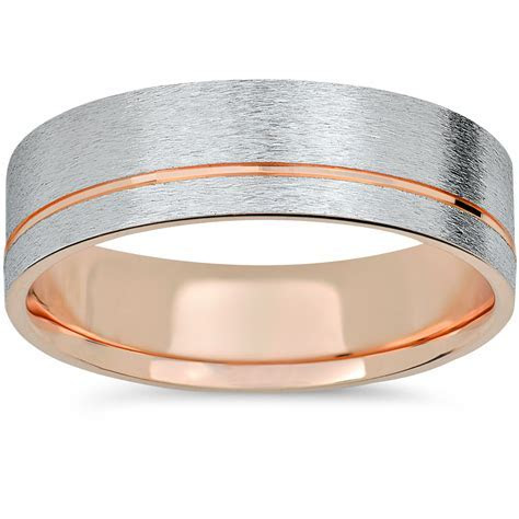 14k Rose Gold & White Gold Two Tone 6mm Brushed Mens