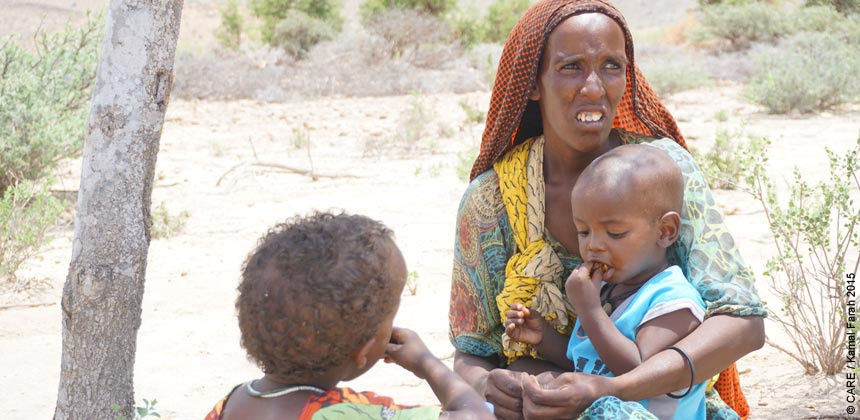 Awo and two of her children in Somaliland